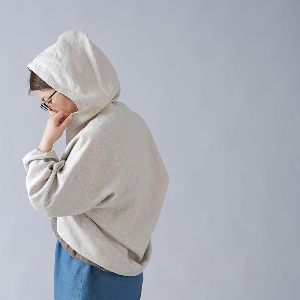 【wafu】リネン フード付き マーガレット 羽織 リネンボレロ トッパーカーディガン 中厚/亜麻ナチュラル h006d-amn2