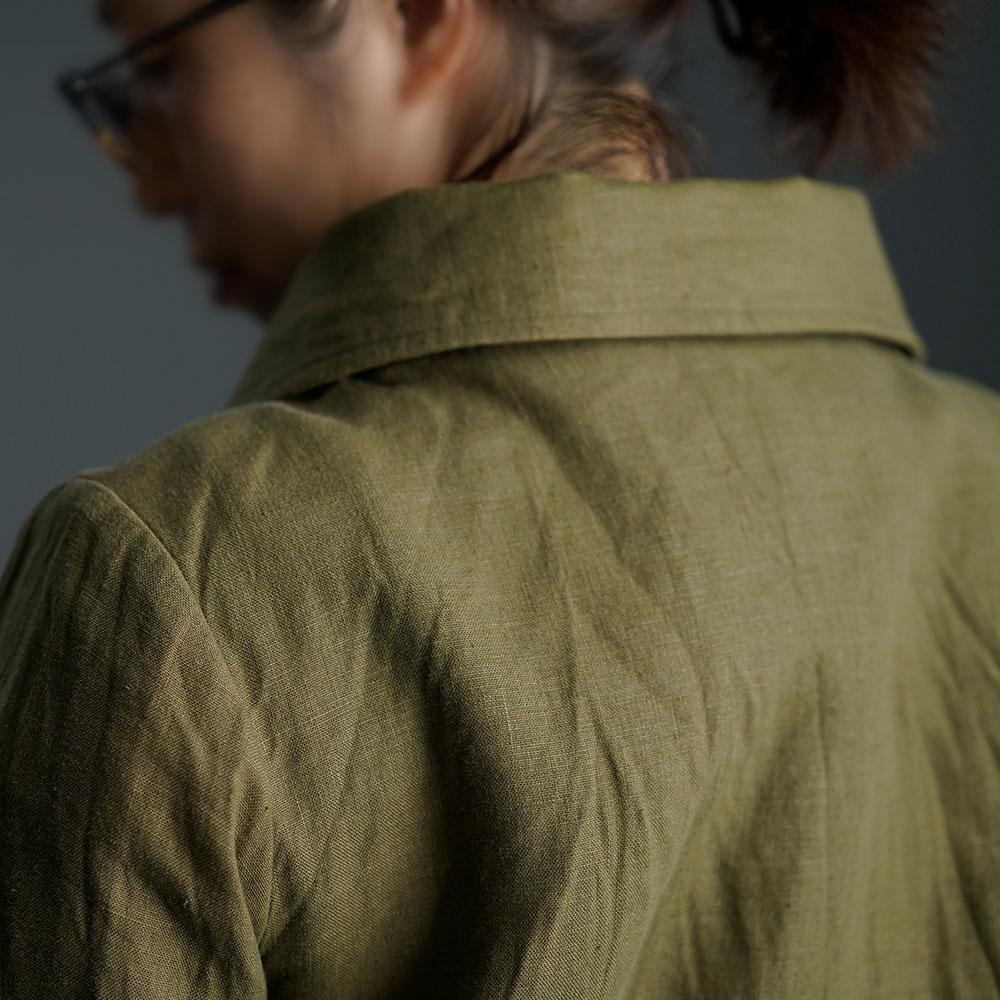 【wafu】Linen Coat  丸襟コート /オリーブ×黄橡色(きつるばみ) h011a-olv2