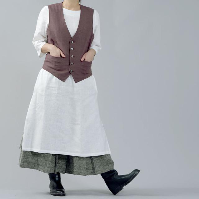 【wafu】リネンベスト 総裏地仕様 先染めリネン100% スーツスタイルにも 裏地もリネン スタイルがよくみる メンズ 男女兼用 ユニセックス メンズライクにも/小豆色(あずきいろ)【free】h012a-azk2-w
