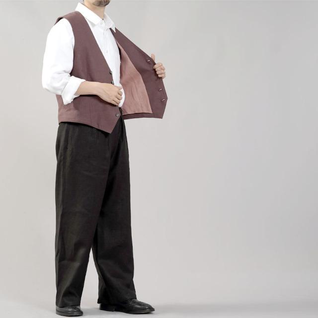 【wafu】リネンベスト 総裏地仕様 先染めリネン100% スーツスタイルにも 裏地もリネン スタイルがよく見える メンズ 男女兼用 ユニセックス メンズライクにも/小豆色(あずきいろ)【M-L】h012a-azk2-m