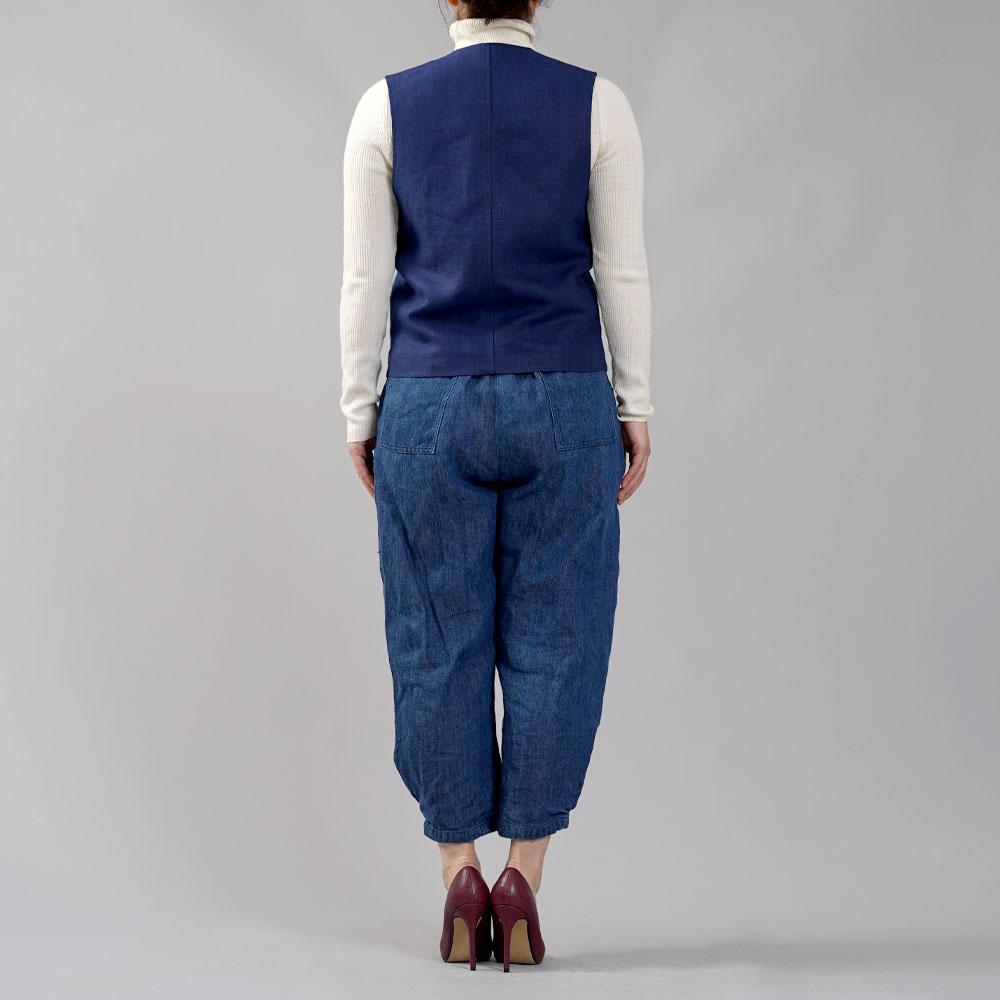 【wafu】リネンベスト 総裏地仕様 スーツスタイルにも メンズ ユニセックス/紺桔梗(こんききょう)【M-L】h012a-kkk2-w