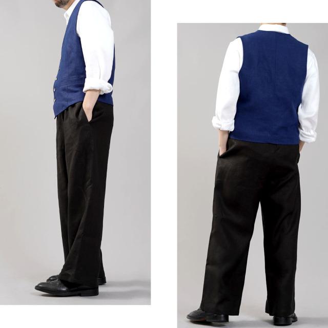 【wafu】リネンベスト 総裏地仕様 先染めリネン100% スーツスタイルにも 裏地もリネン スタイルがよく見える メンズ 男女兼用 ユニセックス メンズライクにも/紺桔梗(こんききょう)【free】h012a-kkk2-m