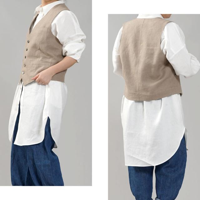 【wafu】リネンベスト 総裏地仕様 スーツスタイルにも メンズ ユニセックス/紺桔梗(こんききょう)【M-L】h012a-krm2-w