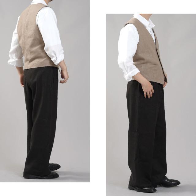 【wafu】リネンベスト 総裏地仕様 先染めリネン100% スーツスタイルにも 裏地もリネン スタイルがよく見える メンズ 男女兼用 ユニセックス メンズライクにも/胡桃色(くるみいろ)【free】h012a-krm2-m