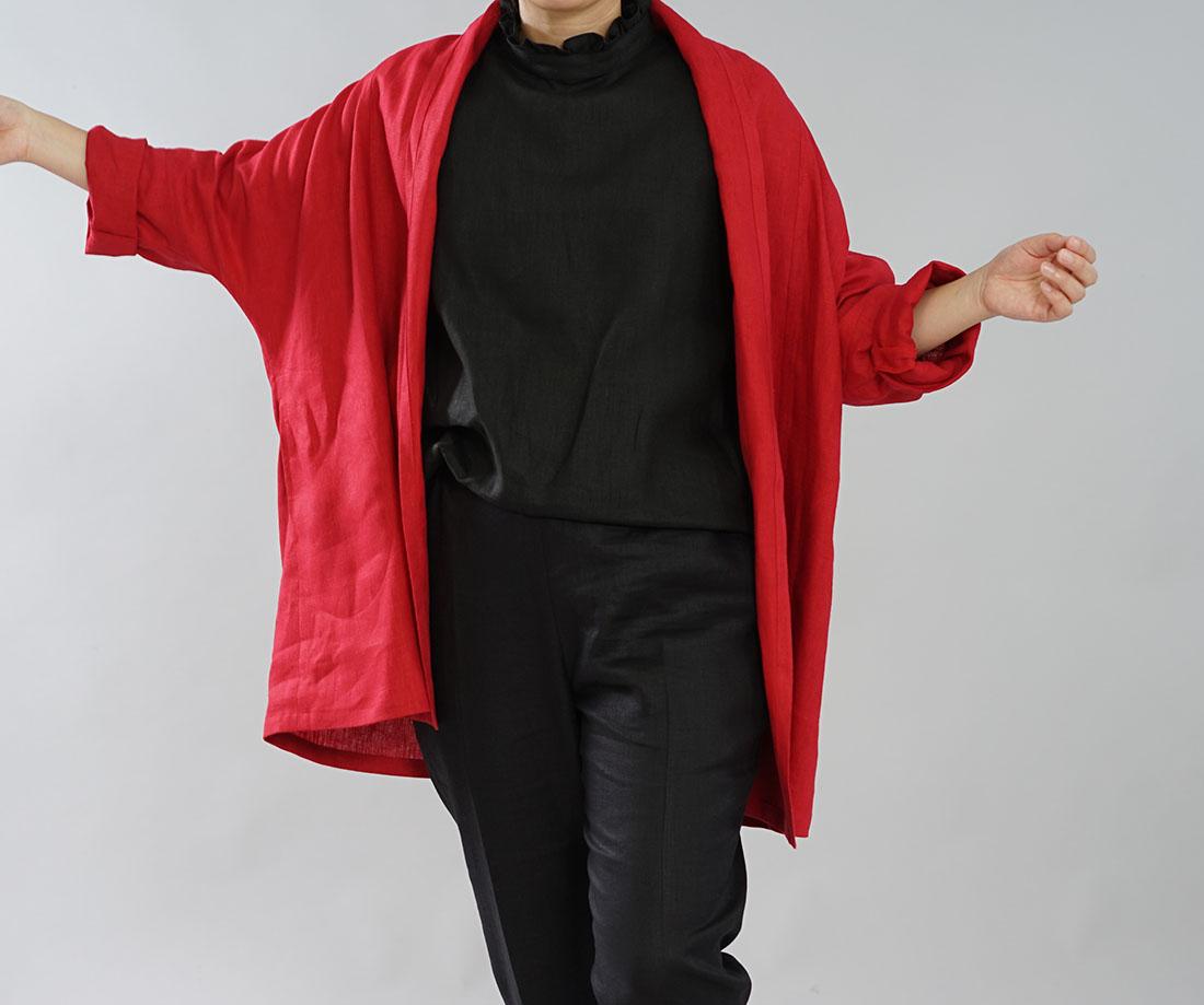 【wafu】中厚 リネン 羽織 トッパーカーディガン ドルマンスリーブ ショールカラー ローブコート ポンチョ リネン100% 冷え対策 UV対策 和服にも合う / レッド【free】h014a-red2