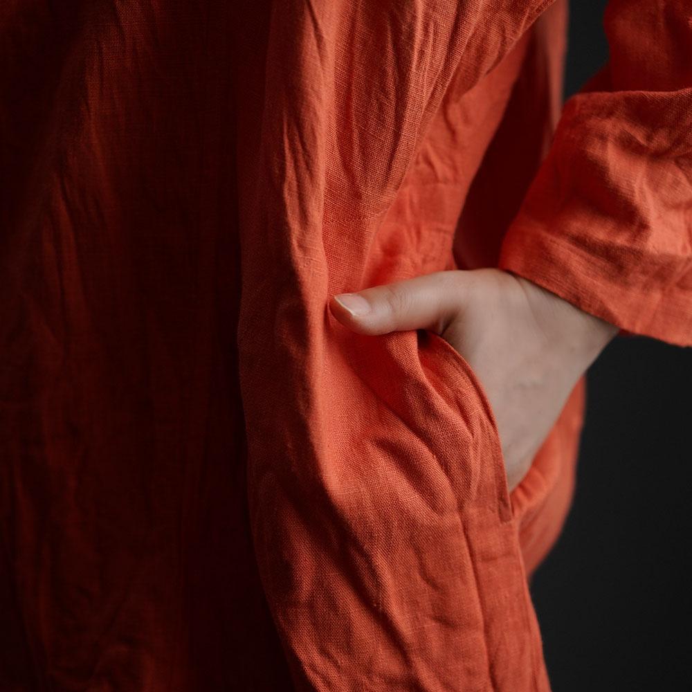 中厚 リネン 羽織 トッパーカーディガン ドルマンスリーブ ショールカラー ローブコート ポンチョ リネン100% 冷え対策 UV対策/バーミリオン【free】h014a-vmi2