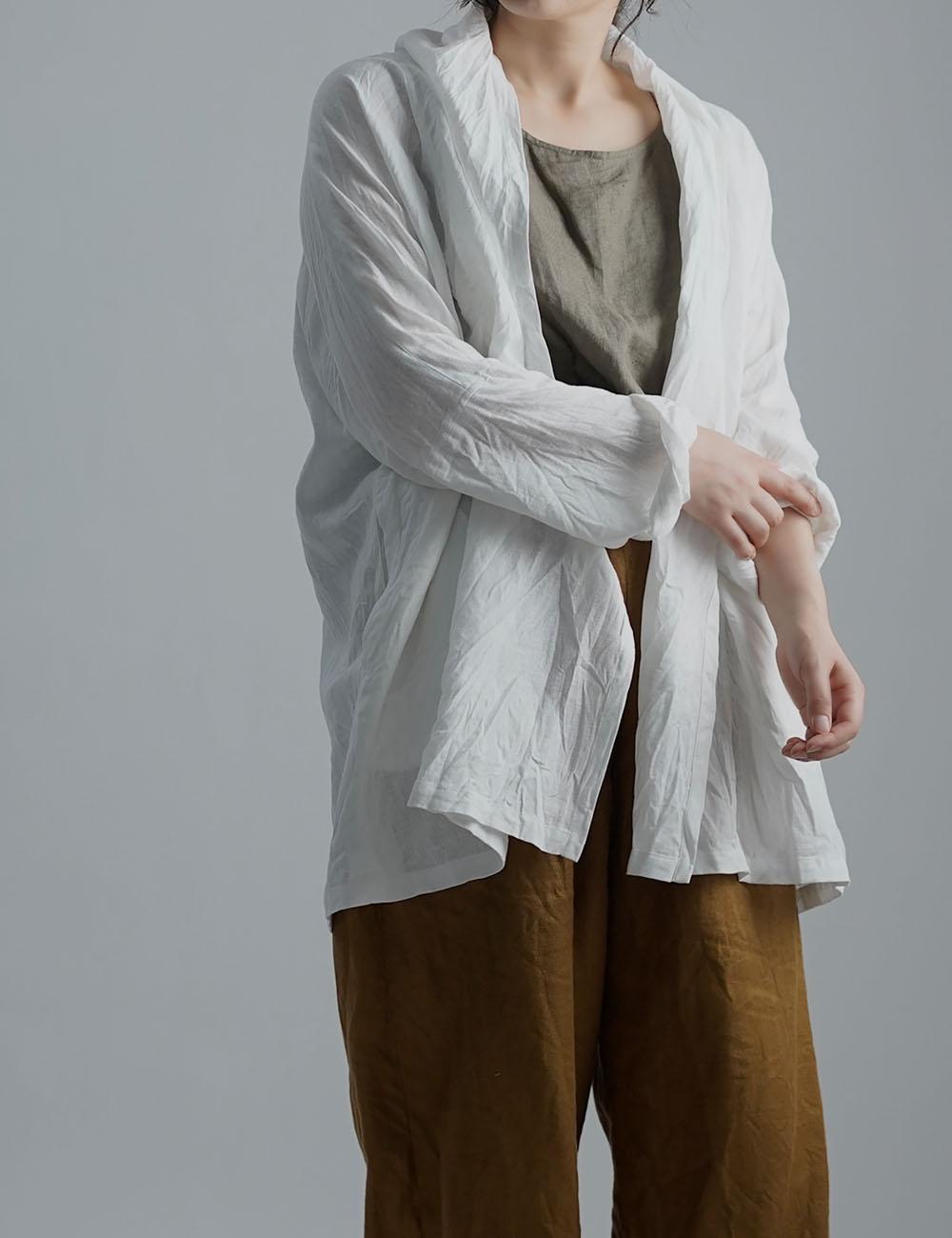 【wafu】Linen Cardigan トッパーカーディガン ハンドワッシャー /ホワイト h014a-wht2
