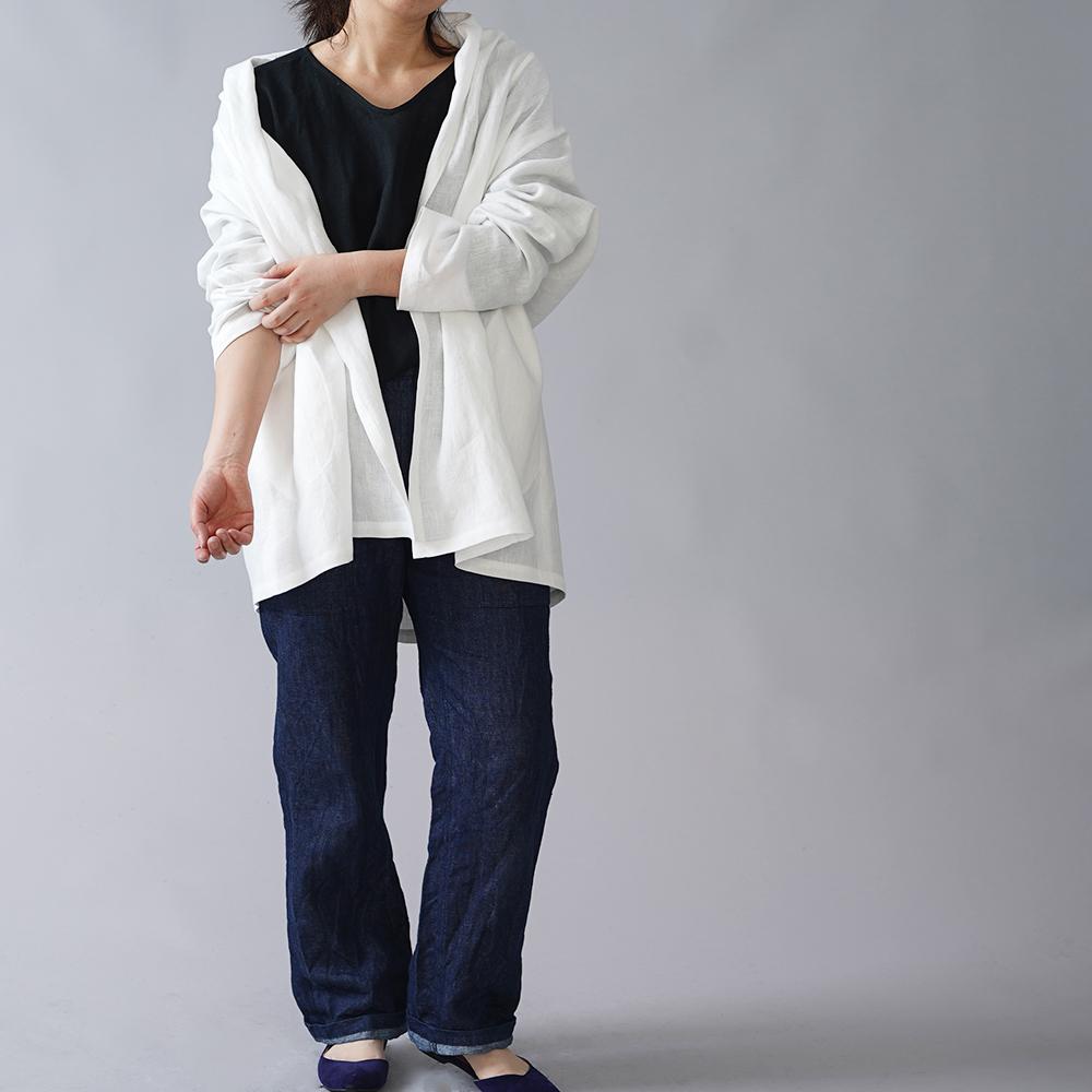 【wafu】中厚 リネン 羽織 トッパーカーディガン ドルマンスリーブ ショールカラー ローブ linen100%/ホワイトh014a-wht2