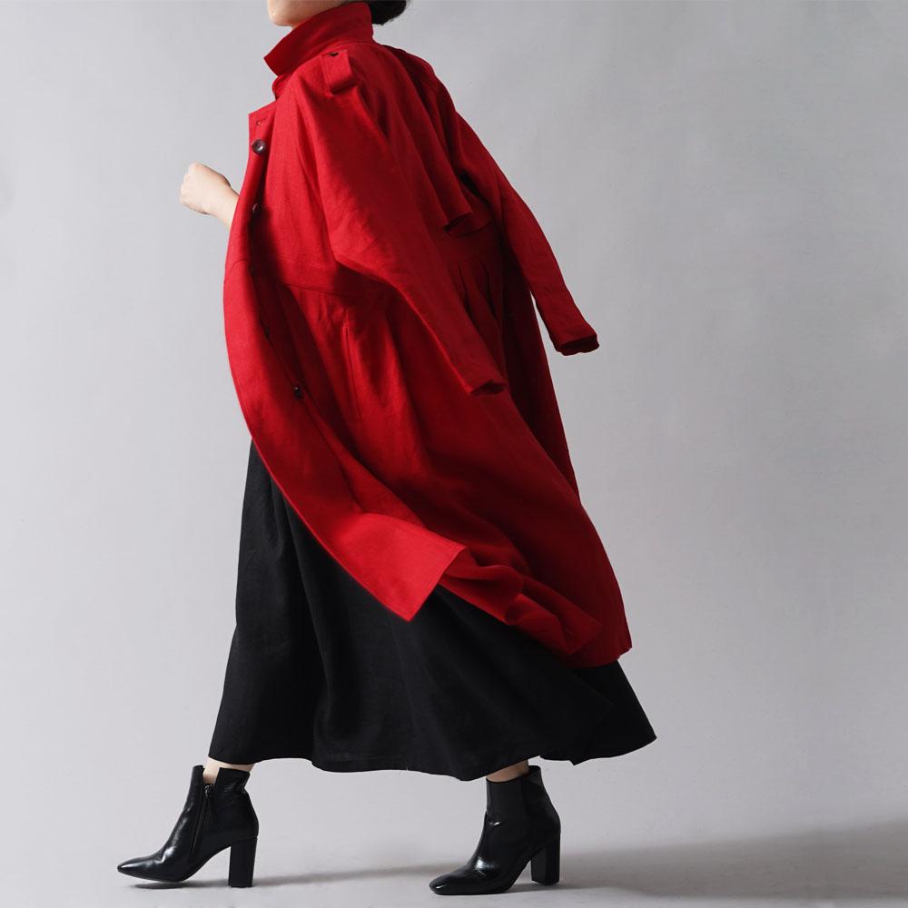 【wafu premium linen】リネン トレンチコートワンピース 2way 羽織にもワンピースにも wafu史上最高の上質リネン wafuプレミアムリネン 高密度リネン /クリストローゼ【free】h016a-ctr2