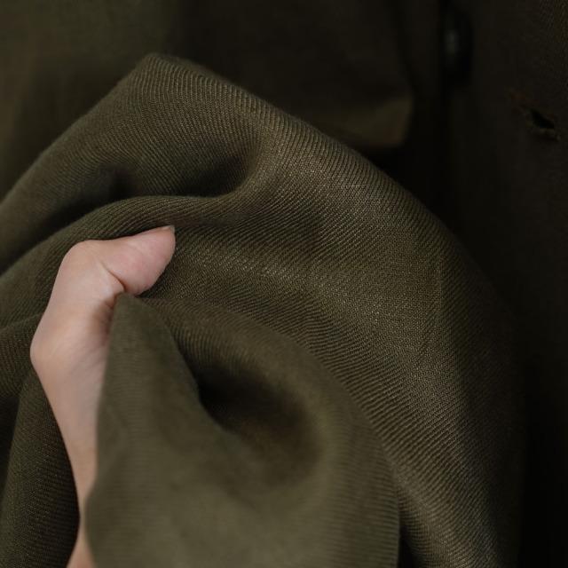 【wafu premium linen】リネン トレンチコートワンピース 2way 羽織にもワンピースにも wafu史上最高の上質リネン wafuプレミアムリネン 高密度リネン/オリーブ【free】hh016a-olv2