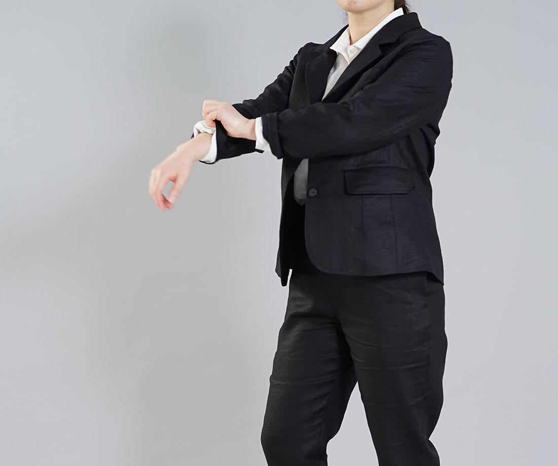【wafu】中厚 リネン 本格 テーラード ジャケット 総裏仕様 裏地リネン100% 羽織 レディース / ブラック【M-L】h018d-bck2