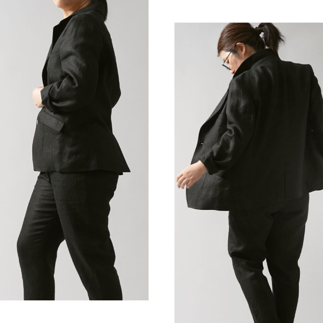 【wafu premium linen】リネン100% テーラードジャケット 総裏地リネン wafu史上最高の上質リネン wafuプレミアムリネン 高密度/ランプブラック【M】h018g-lbk2