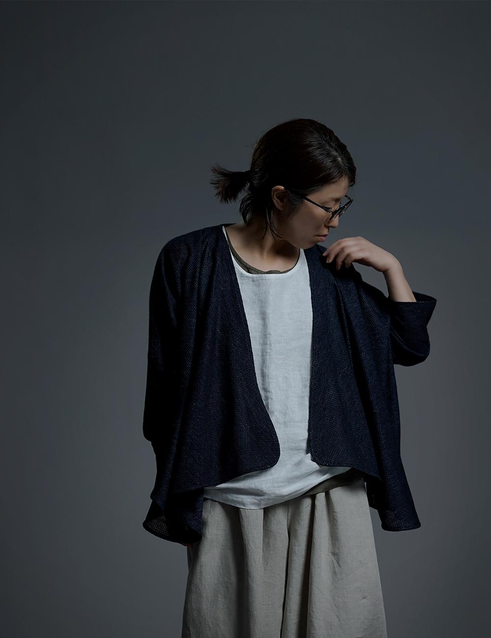 【wafu】 Linen Drape Bolero ドレープ ボレロ/ネイビー h021e-neb2