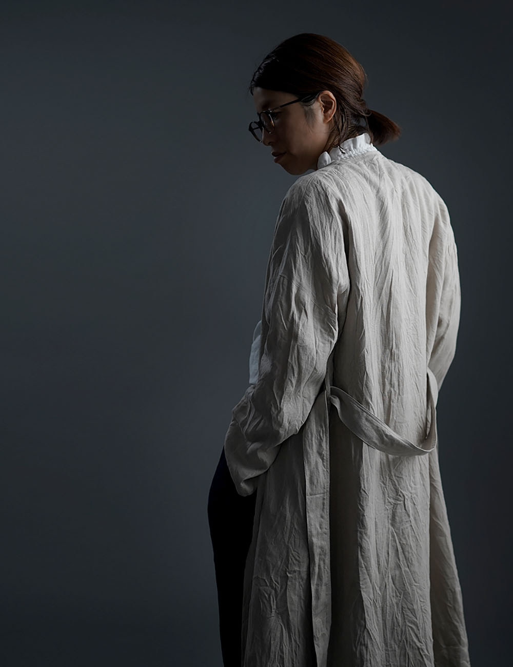 Linen Coat ノーカラーガウンコート ハンドワッシャー /亜麻ナチュラル h022a-amn2