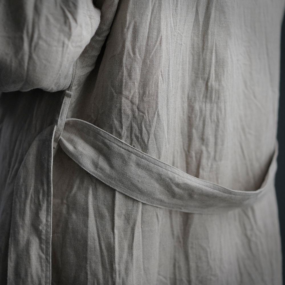 【wafu】中厚 リネン コート 羽織 ノーカラー アウター ドロップショルダー ガウン コート / 亜麻ナチュラル【free】h022a-amn2