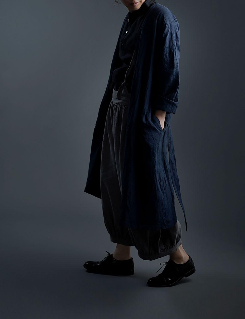 Linen Coat ノーカラーガウンコート ハンドワッシャー /ネイビー h022a-neb2