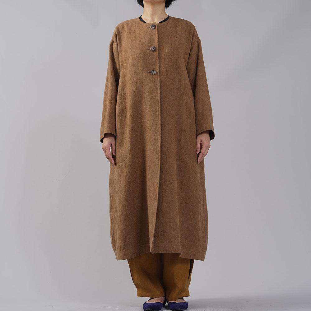 【wafu】リネンウールコート 3つボタン ノーカラーコート コクーン 裏地リネン/カネル【M】h026b-cne3
