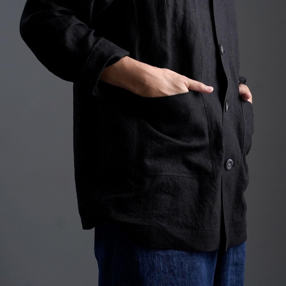 Linen Jacket カバーオール 男女兼用 /ブラック h031c-bck2