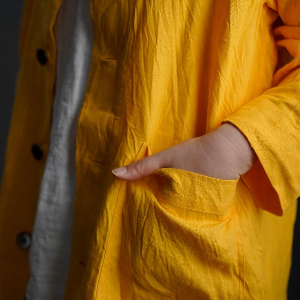 【wafu 入門編】Linen Jacket 数量限定!カバーオール 男女兼用 ハンドワッシャー / ディープサンフラワー h031c-dsf2