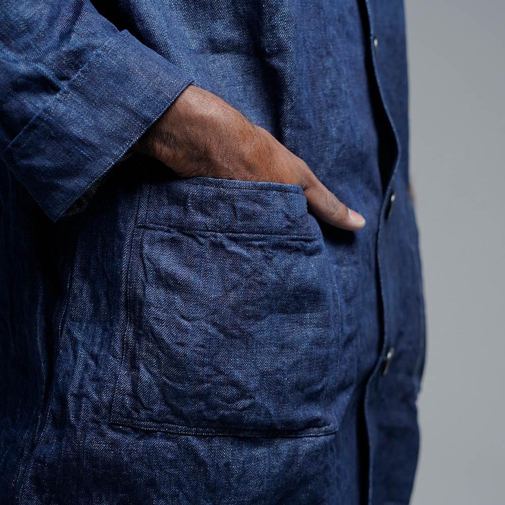 【wafu】男女兼用 リネンデニム カバーオール ワークジャケット 色落ちあり 縮みも多少あり/インディゴ h031c-ind3