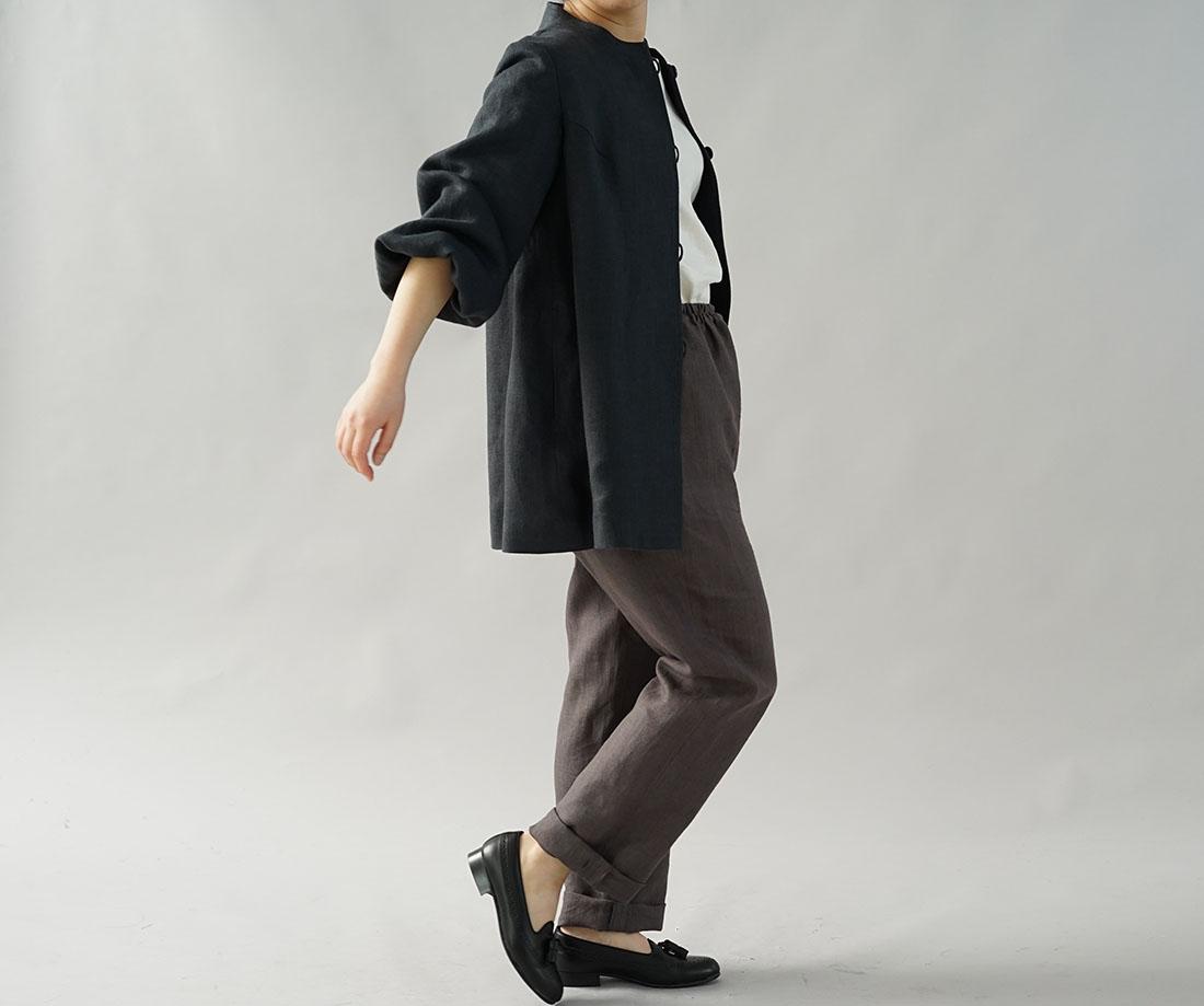 【wafu】中厚 リネン コート スタンドカラー ジャケット ぷっくりパフスリーブ 先染め ヘリンボーン織り / リバーブルー【M-L】h035a-rbn2