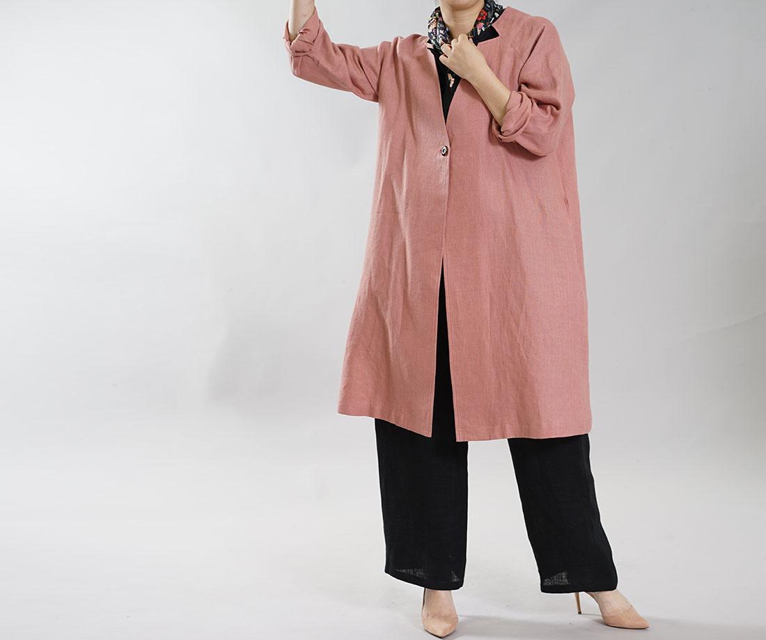 【wafu】厚地 起毛 暖リネン コート オフィサーカラー ラグランスリーブ 羽織 ロング丈 アウター / エンパイアローズ【M-L】h036d-ers3