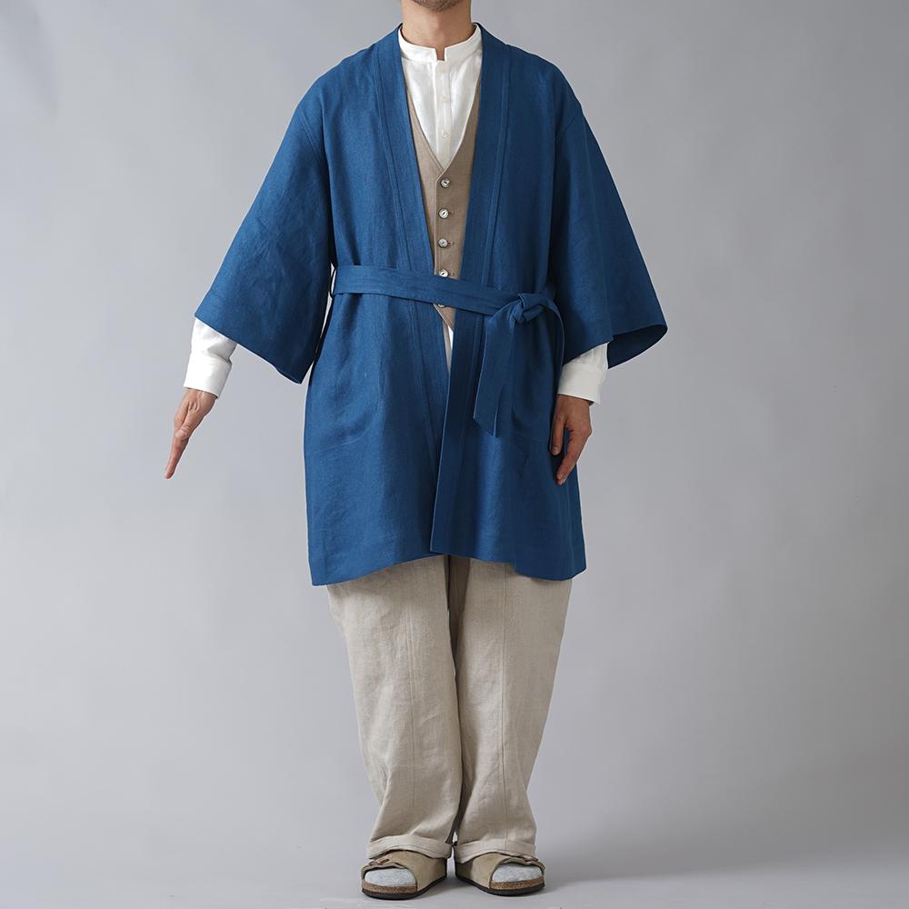 【wafu プレミアムリネン】和装,洋装にもあうリネン羽織  ロングカーディガン リネンガウン /オーシャン h037j-ocn3