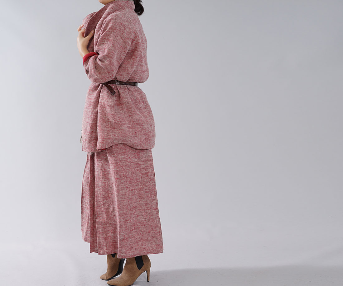 【wafu】厚地 表起毛 リネン コート 裏地雅亜麻リネン 柔らかい ウィングカラーコート ラグランスリーブ / 茜色 あかねいろ【free】h039d-aki3