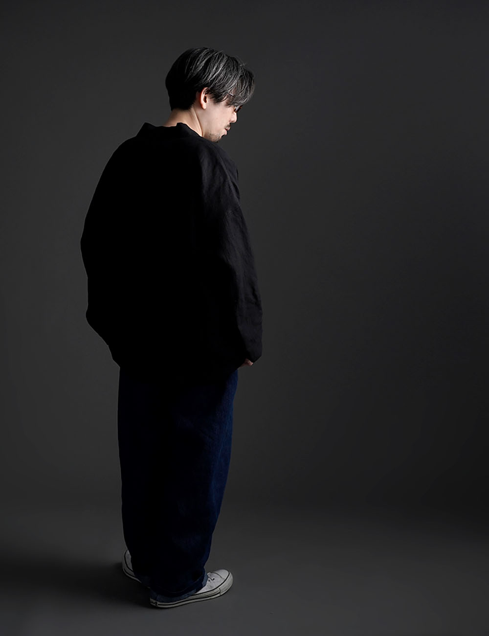 【wafu】Linen Cardigan  カーディガン / ブラック h042a-bck2