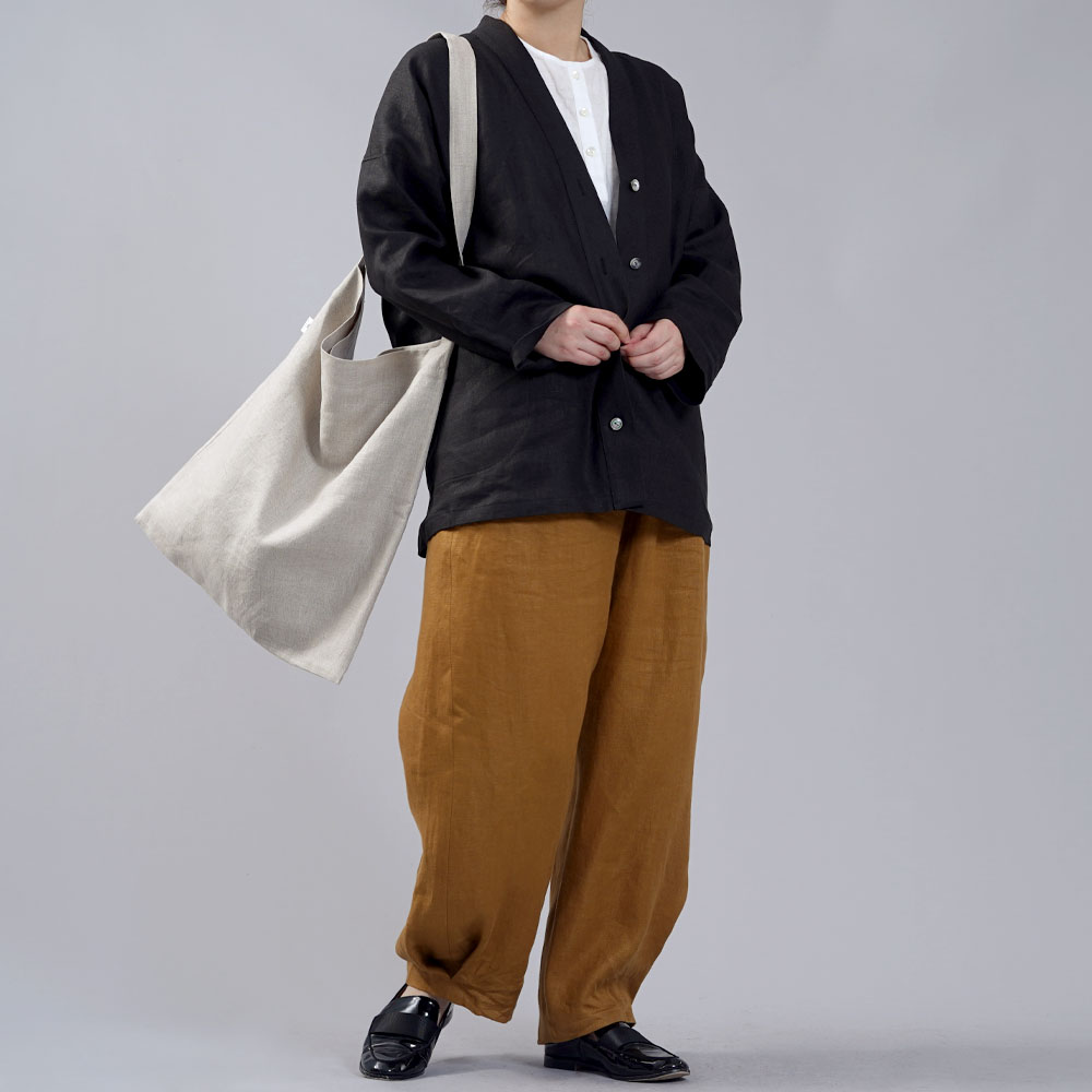 【wafu】中厚 リネン カーディガン ドルマンスリーブ 羽織 ドロップショルダー 長袖/ブラック【free】h042a-bck2