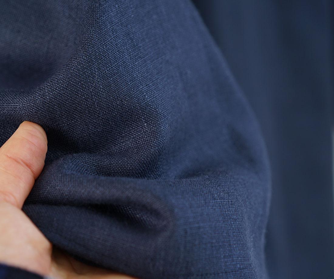 【wafu】中厚 リネン カーディガン ドルマンスリーブ 羽織 先染め ドロップショルダー 長袖 / ネイビー【free】h042a-neb2