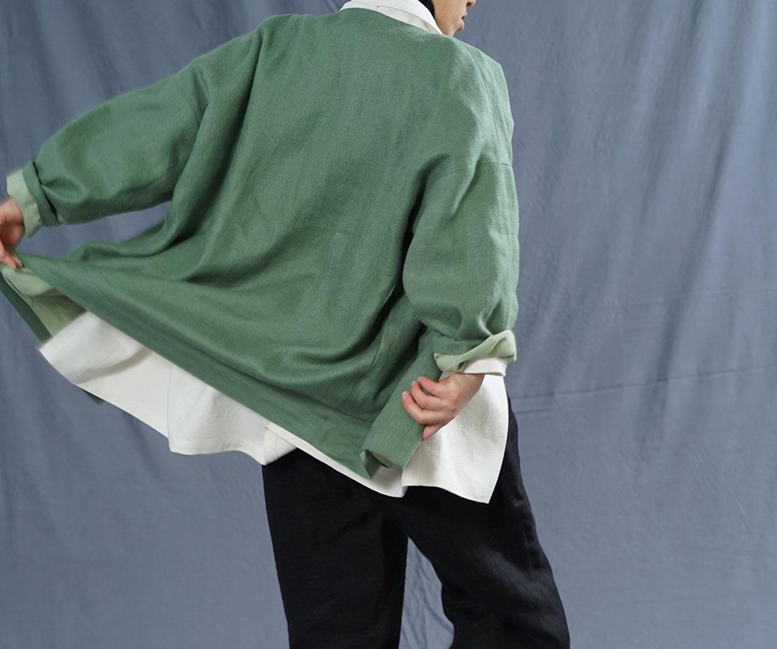 【wafu】厚地 暖リネン 表起毛 wafu史上最高の上質リネン シャツ専用ジャケット 総裏地 雅亜麻 コート ドロップショルダー 羽織 長袖 /蒼色(そうしょく)【free】h042c-sou3