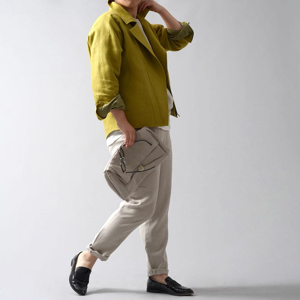 【wafu premium linen】リネン ライダース ジャケット wafu史上最高の上質リネン 高密度 総裏地仕様リネン100% ダブルライダース アウター wafuプレミアムリネン シネマでみたワンシーンのランダース/シャトルーズグリーン【M】h047b-sgn2