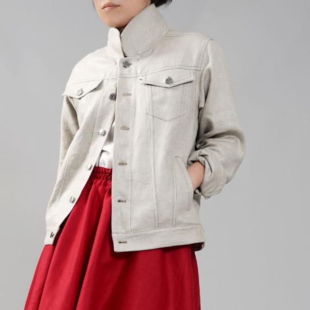 【wafu premium linen】プレミアムリネン Gジャン 男女兼用 ユニセックス トラッカージャケット リネンジージャン メンズライク/フラックス【free】h051b-flx2