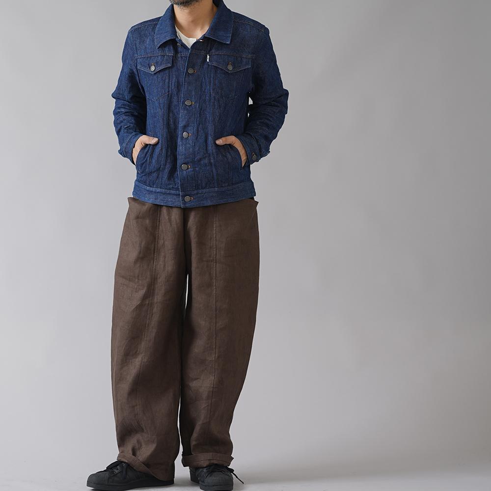 【wafu】厚地 リネンデニムトラッカージャケット男女兼用 リネンGジャン 色落ちします!縮みも多少あり!/インディゴ h051d-ind3-m