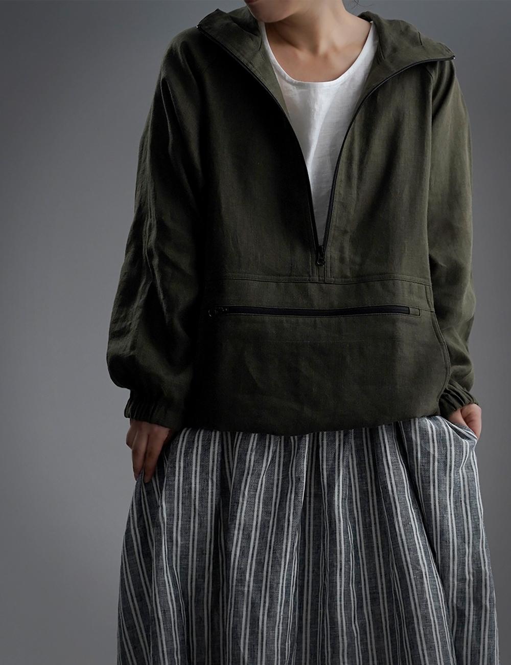 【wafu】Linen Anorak アノラック パーカー /カーキ h053b-khk2
