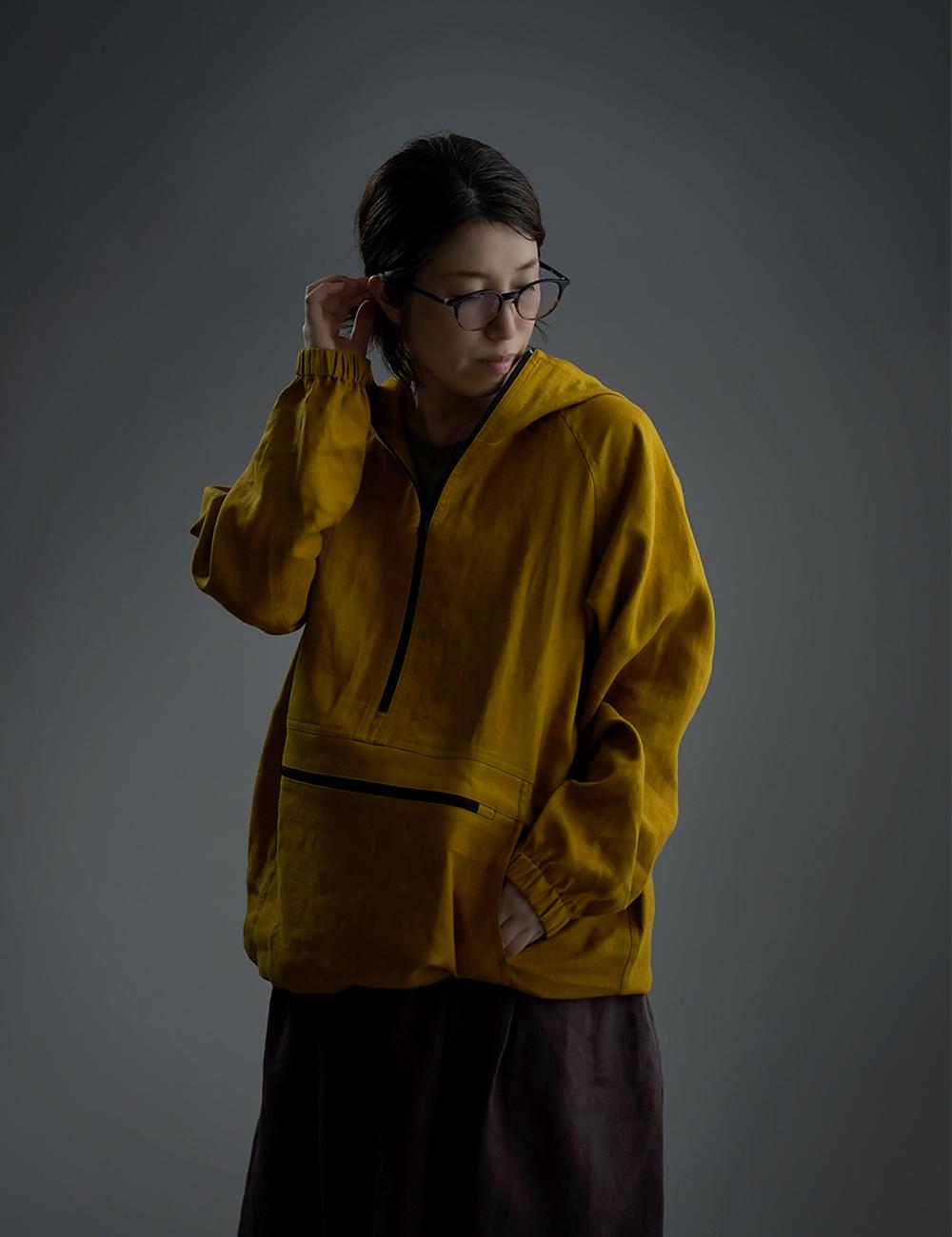 【wafu】Linen Anorak アノラック パーカー /マスタード h053b-mtd2