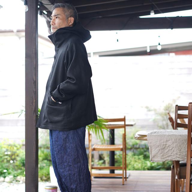 【wafu premium linen】リネン マウンテンパーカー wafu史上最高の上質リネン 総裏地仕様 wafuプレミアムリネン 登山 アウトドア/ランプブラック【free】h053c-lbk3