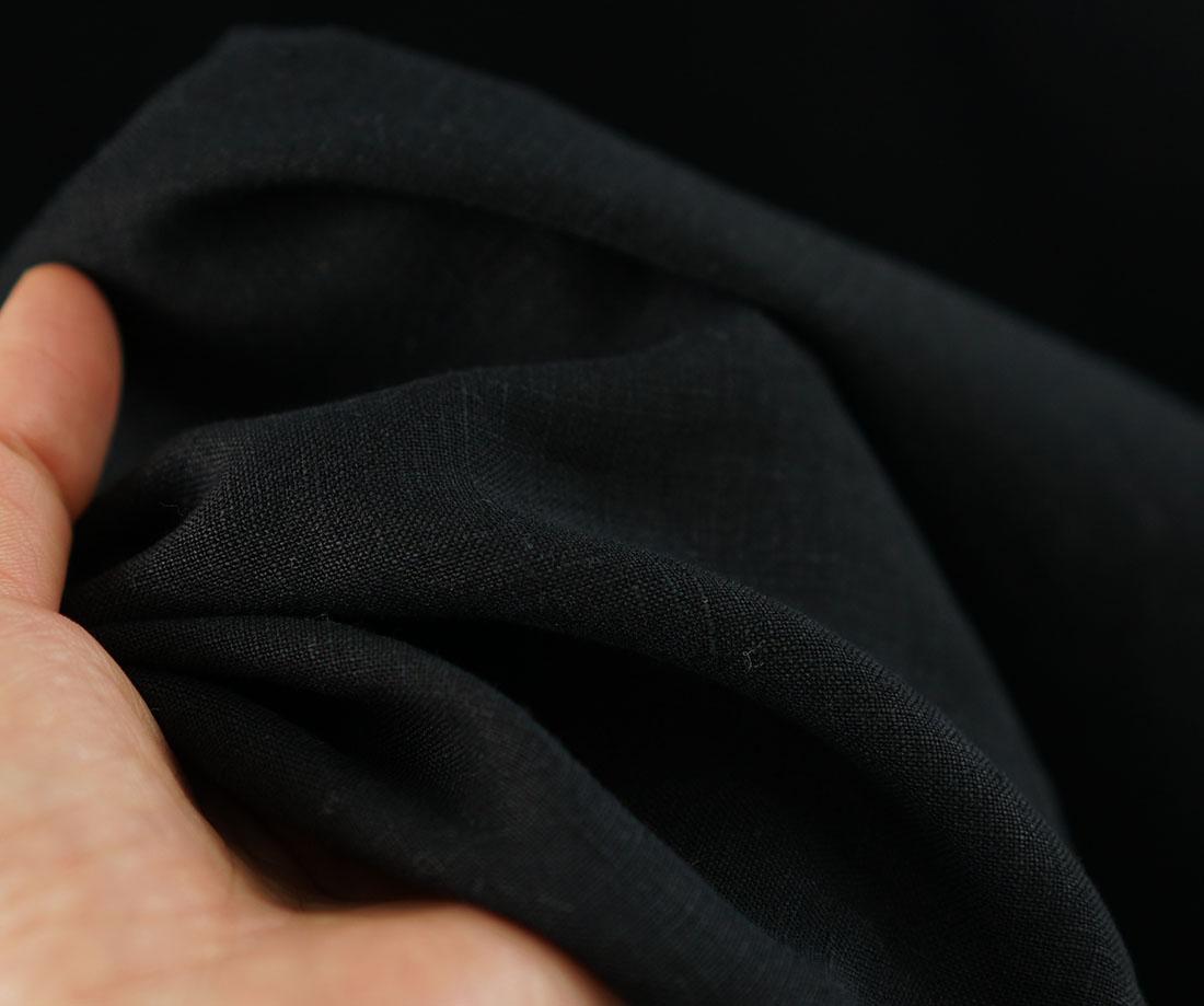 【wafu】薄地 雅亜麻 リネン ワンピース ペチワンピースにも ハイネック ピンタック 2way やさしい インナー ドレス 肌着 下着 / 黒色【M-L】p001a-bck1