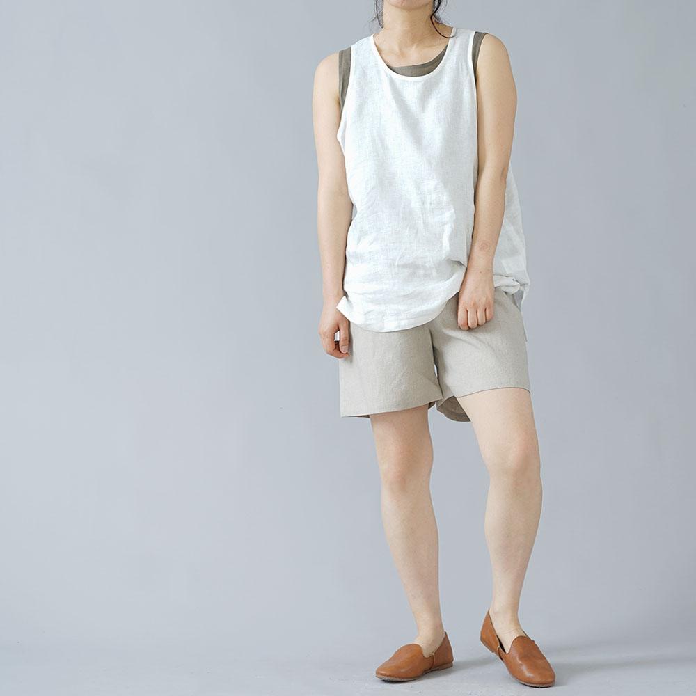 【wafu】肌触りバツグン! リネンペチパンツ インナー 肌着 下着 パンツとしても やや薄 40番手/亜麻ナチュラル p003b-amn1