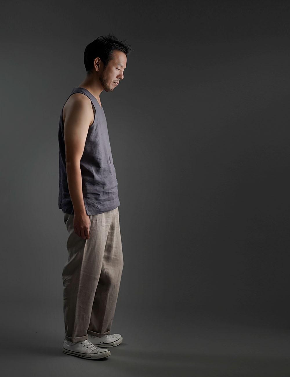 【wafu】Linen Tank Top Vネック ノースリーブ インナーとしても / 墨色(すみいろ) p004g-smi1