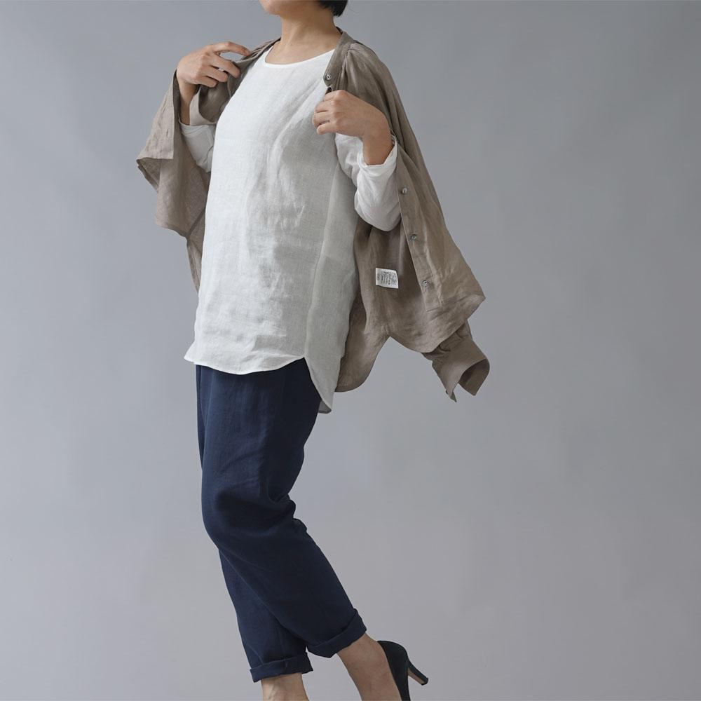 【wafu】雅亜麻リネン インナー ブラウス ラウンドカット  黄金比率のネック角度/ 白色 p008a-wht1
