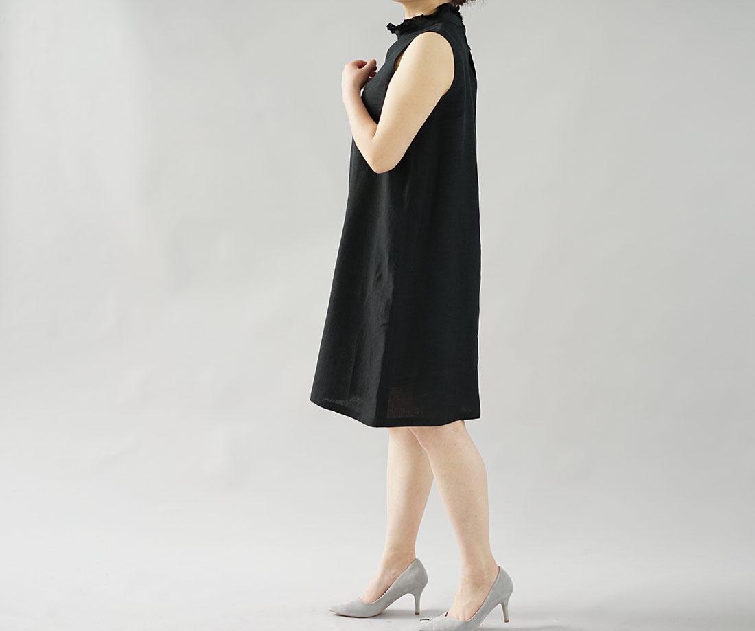 【wafu】薄地 雅亜麻 リネン フリル 襟 ワンピース やさしい インナー ドレス 肌着 下着 ペチワンピース / 黒色【free】p009a-bck1