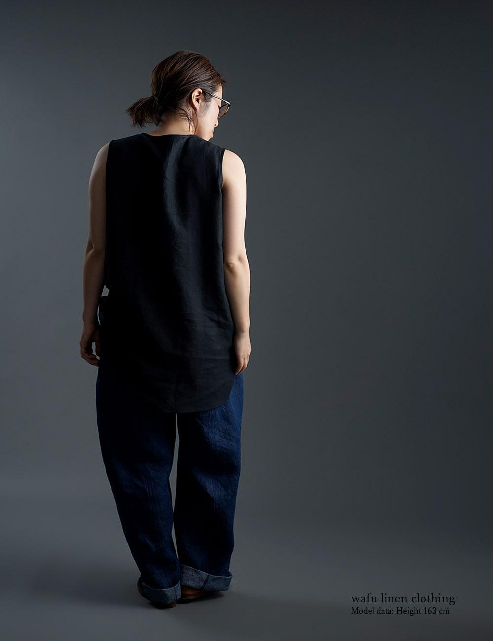 【wafu】雅亜麻 Linen Top ヘンリーネック ロング丈 インナーとしても /黒色 p011a-bck1