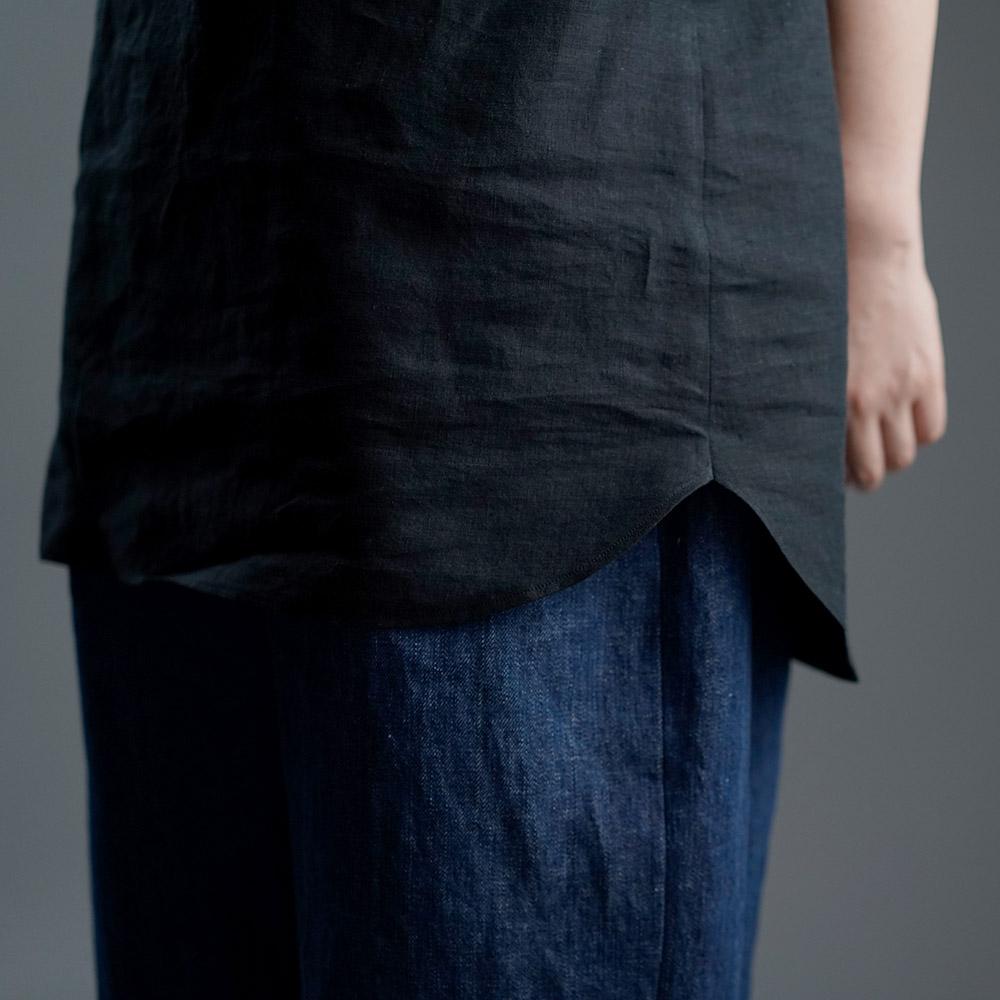 薄地 雅亜麻 リネン インナー ヘンリーネック ノースリーブ ペチ ペチタンク 2wey 下着にも ロング丈/黒色【M-L】p011a-bck1