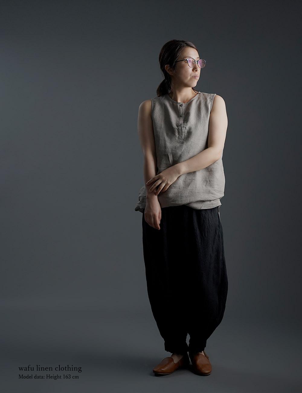 【wafu】雅亜麻 Linen Top ヘンリーネック ロング丈 インナーとしても /榛色(はしばみいろ) p011a-hbm1