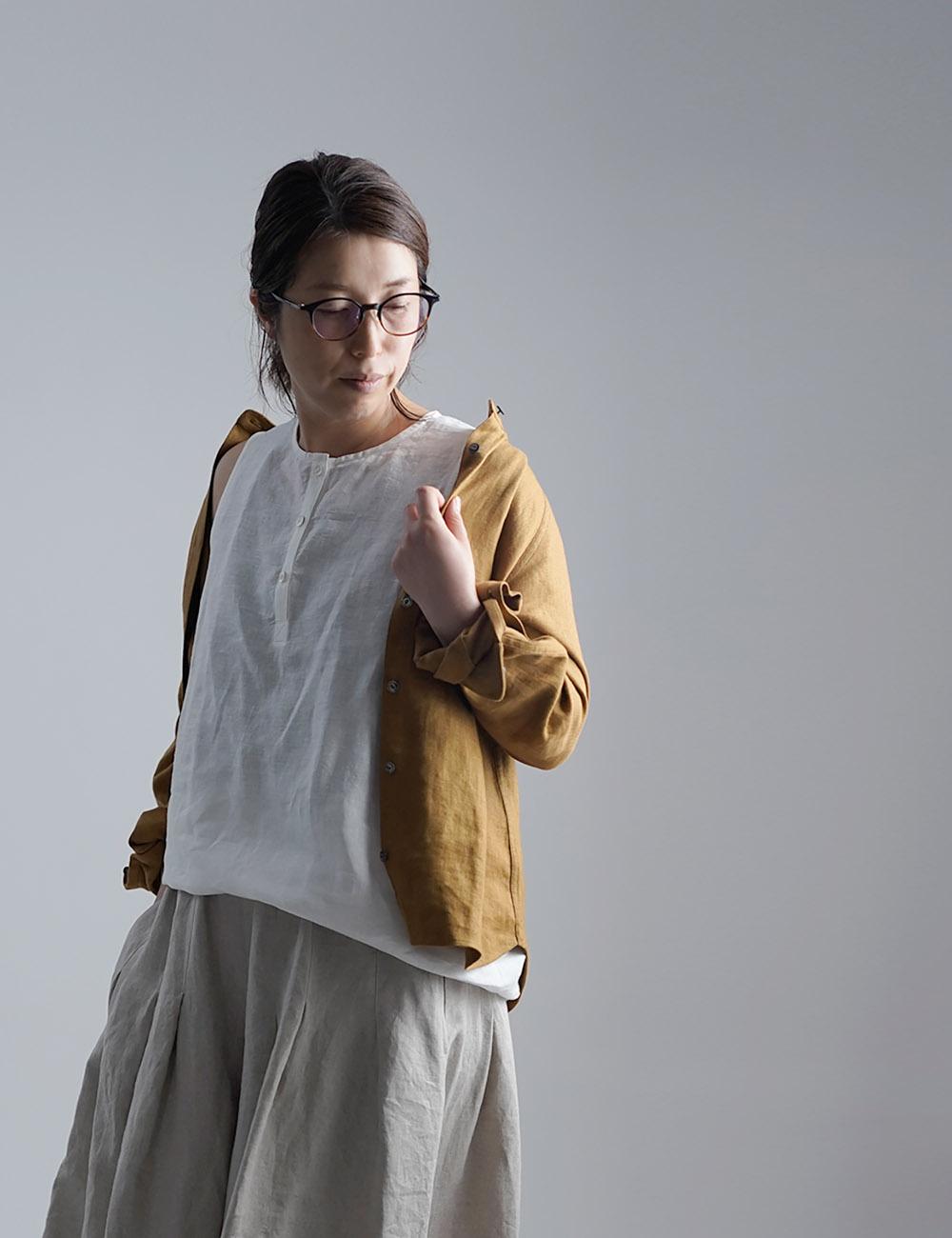 【wafu】雅亜麻 Linen Top ヘンリーネック ロング丈 インナーとしても /白色 p011a-wht1