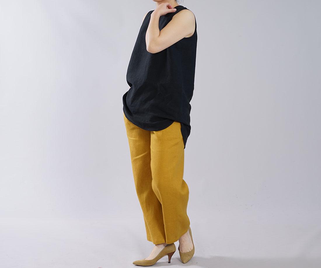 薄地 雅亜麻 リネン インナー ペチコート ペチ ペチタンク 2wey ノースリーブ 下着にも ロング丈 裾 ヘムライン / 黒色【M-L】p011b-bck1