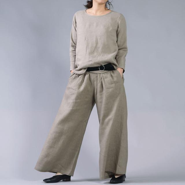 【wafu】雅亜麻リネン インナー ブラウス 袖スリット 黄金比率のネック角度/ 榛色(はしばみいろ)p012a-hbm1
