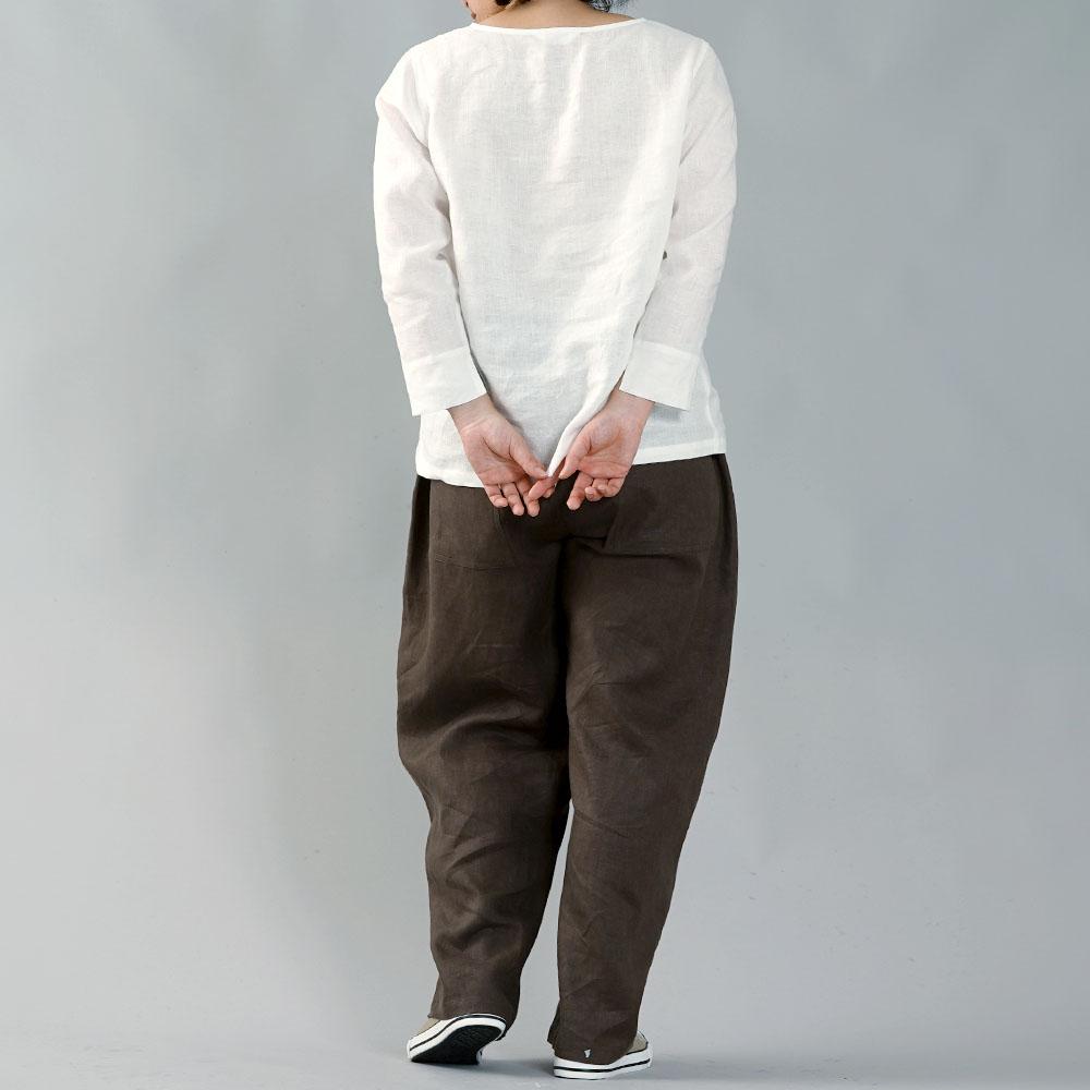 【wafu】雅亜麻リネン インナー ブラウス 袖スリット 黄金比率のネック角度 /白 p012a-wht1
